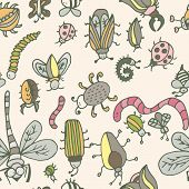 image of summer insects  - Cute cartoon insect pattern - JPG