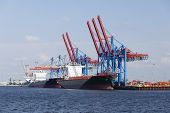 picture of tall ship  - Container harbor with tall cranes and docked ships in Hamburg Harbor Germany - JPG