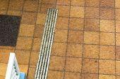 stock photo of flood  - Flooded floor in a hotel during heavy rain in Fuerteventura Spain - JPG