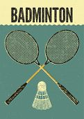 stock photo of shuttlecock  - Badminton typographic vintage grunge style poster - JPG