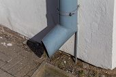 image of gutter  - old gutter metal rain drain pipe on the wall - JPG