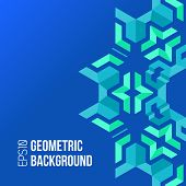 stock photo of asymmetric  - vector blue green colors asymmetric abstract geometric background - JPG