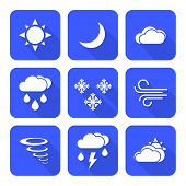 picture of windy weather  - vector solid white color flat design weather forecast icons set long shadows - JPG