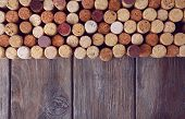 picture of bing  - Wine corks on rustic wooden planks background - JPG