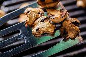 foto of champignons  - Champignon white mushrooms on spatula grilled on BBQ with seasoning - JPG