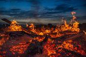 pic of bonfire  - landscape with bonfire - JPG