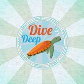 foto of deep  - Deep diving ocean turtle - JPG