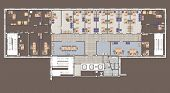 picture of straddling  - Plan of a large office with straddling furniture   - JPG