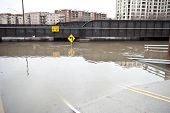 image of underpass  - A flooded 9 underpass on a cloudy day in the Chicago area - JPG