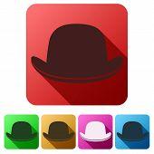 foto of bowler hat  - Set Flat icons of black gentleman bowler hat - JPG