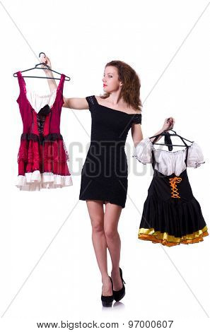 Pretty girl with bavarian clothing isolated on white