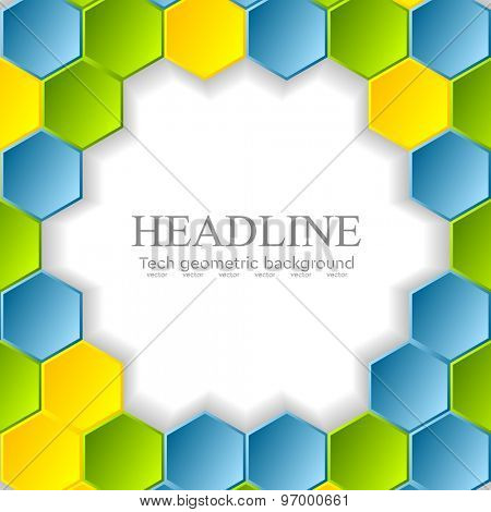 Abstract bright hexagons pattern design. Vector background