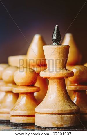 Chess Leader Leading His Army White Wooden Figures