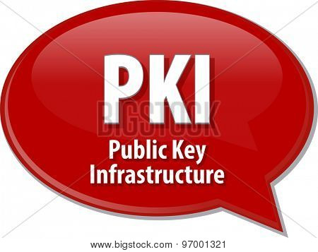 Speech bubble illustration of information technology acronym abbreviation term definition PKI Public Key Infrastructure
