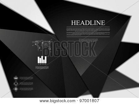 Black minimal tech background. Vector design illustration