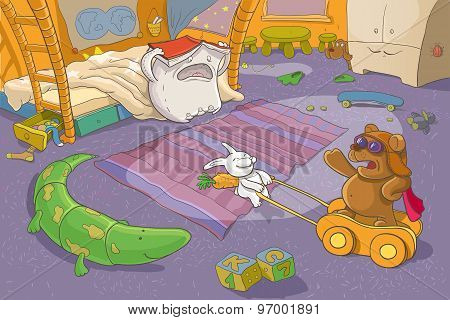 Childrens Illustration. Fantasy. Teddy Bear, Rabbit And Pillow.