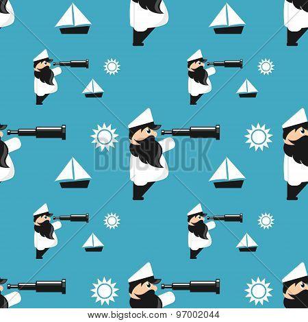 sea captain cartoon repeating pattern