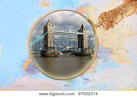 Looking In On Tower Bridge, London England