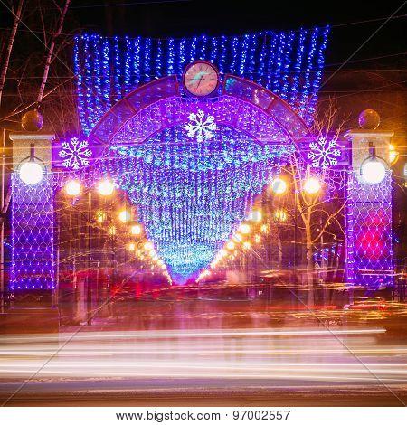 Festive Illumination On Street, New Year In Belarus.