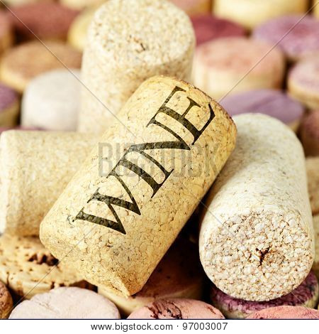 Wine corks close-up. Shallow DOF!