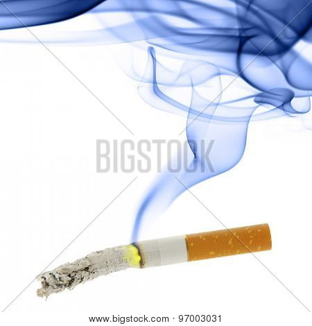Cigarette with ash and smoke isolated over the white background