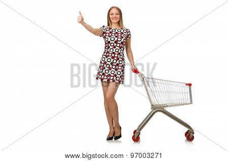 Young woman with cart isolated on white