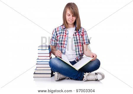Smiling student with books isolated on white