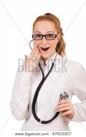 Pretty female doctor with stethoscope isolated on white