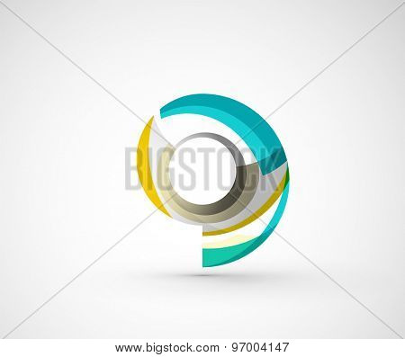 Abstract geometric company logo ring, circle. Vector illustration of universal shape concept made of various wave overlapping elements
