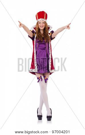 Pretty young queen in purple dress isolated on white