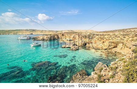 The World Famous Blue Lagoon In Comino Island - Mediterranean Nature Wonder In The Beautiful Malta