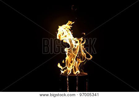 Image of glowing log, flame