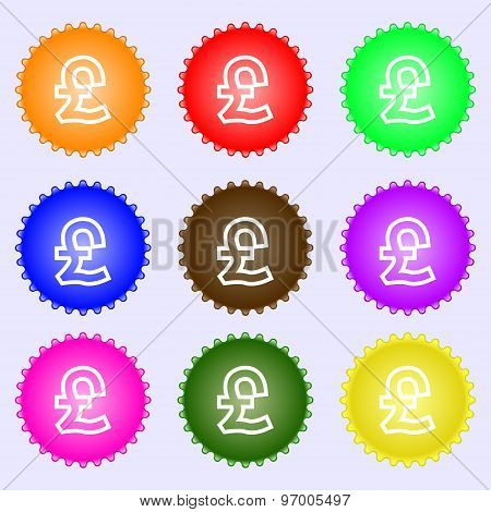 Pound Sterling Icon Sign. A Set Of Nine Different Colored Labels. Vector