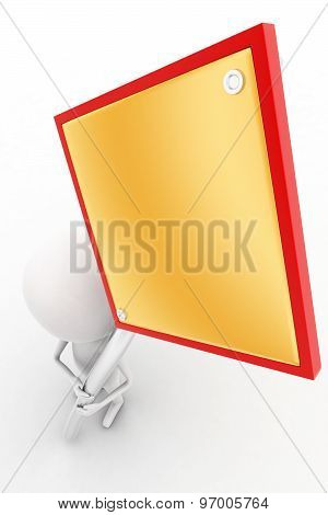 3D  Man Holding  No Entry - Red Stop Sign Concept