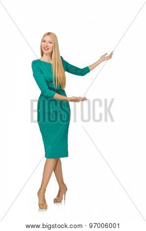 Pretty young woman in green dress isolated on white
