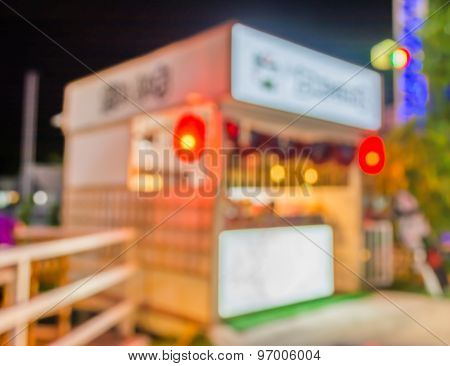Blurred Image Of  Japan Restaurant Blur Background With Bokeh.