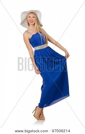 Beautiful woman in long blue dress isolated on white