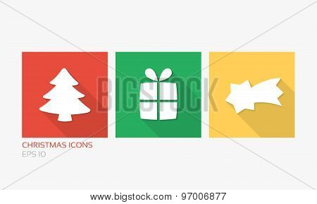 Christmas Icons In Flat Design Style