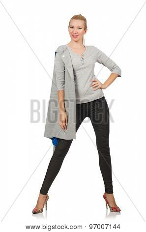 Pretty woman in gray blouse isolated on white