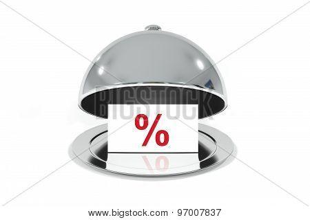 Silver Cloche White Sign Percentage Discount Symbol