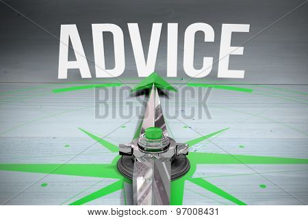 The word advice and compass against bleached wooden planks background