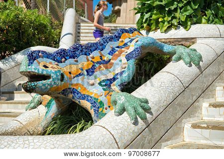 BARCELONA, SPAIN - MAY 02: Gaudi­'s multicolored mosaic salamander, popularly known as