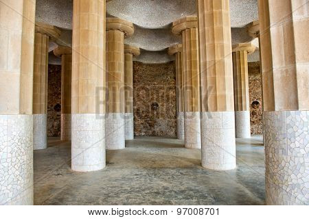 BARCELONA, SPAIN - MAY 02: Columns of Hypostyle Room, Park Guell ( UNESCO World Heritage Site), hill of El Carmel, Gracia (district), Barcelona, Catalonia, Spain on May 02, 2015