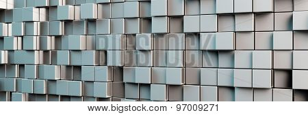 Abstract panorama background with many grey cubes (3D Rendering)