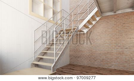 Simple metal stairs in an empty loft (3D Rendering)