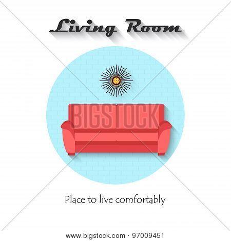 Vector Flat Design Icon Of Sofa