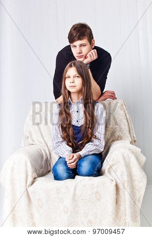 Brother and sister studio portrait