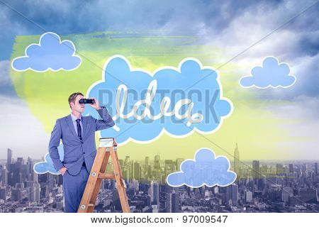 Businessman looking on a ladder against cityscape