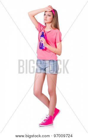 Cute girl in pink sport clothes isolated on white