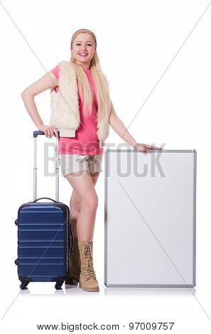 Young tourist with suitcase and poster isolated on white
